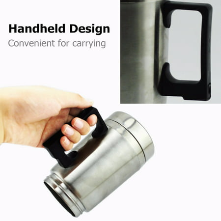 12V 304 Stainless Steel and Food Grade Material Car Stainless Steel Cigarette Lighter Heating Kettle Mug Electric Travel Thermoses Water Coffee Cup  - image 2 of 13