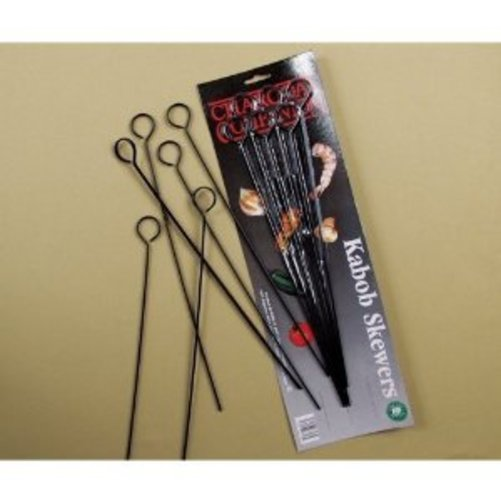 Charcoal Companion 13-Inch Nonstick Grilling Kabob Skewers, Set of 6 Multi-Colored
