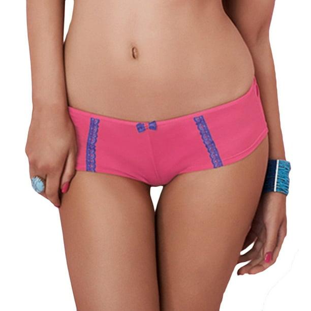 Womens Panache Cleo Jude Lace Trim Thongs Knickers Pants Blue Magenta Size 8