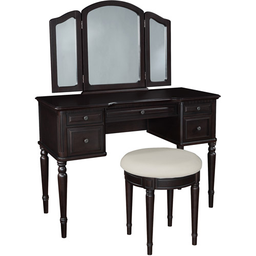 Classic Vanity with Tri-Fold Mirror and Bench, Espresso
