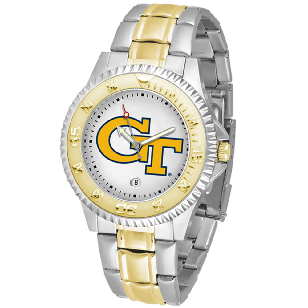 "Georgia Tech Yellowjackets NCAA ""Competitor"" men's watch (2-Tone Stainless Steel Band)"