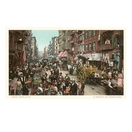Peddlers in Old New York Street Print Wall Art