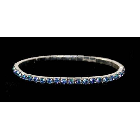 #11950 Single Row Stretch Rhinestone Bracelet - Light Sapphire AB Crystal  Silver