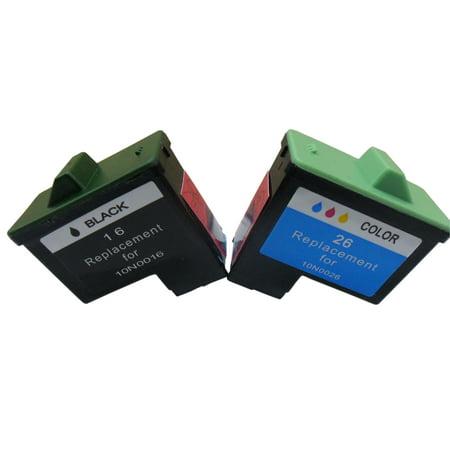 Superb Choice Remanufactured Ink Cartridge for Lexmark 16/26 compatible with Lexmark Z600 Z601 Z602 Z603 Z605 Printers(Black+Tri-Color)