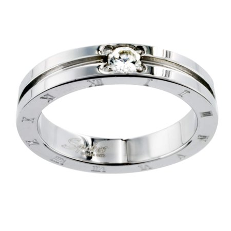 - West Coast Jewelry Stainless Steel CZ Etched Roman Numeral Design Ring