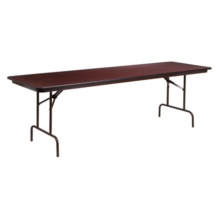 (Flash Furniture 30'' x 96'' Rectangular High Pressure Mahogany Laminate Folding Banquet Table)