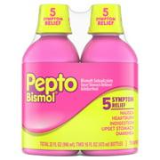 Pepto Bismol 5 Symptom Stomach Relief Liquid, Original, 16 oz, 2 pk