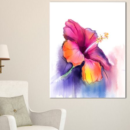 DESIGN ART Red Yellow Hibiscus Flower in Blue - Large Flower Glossy Metal Wall Art