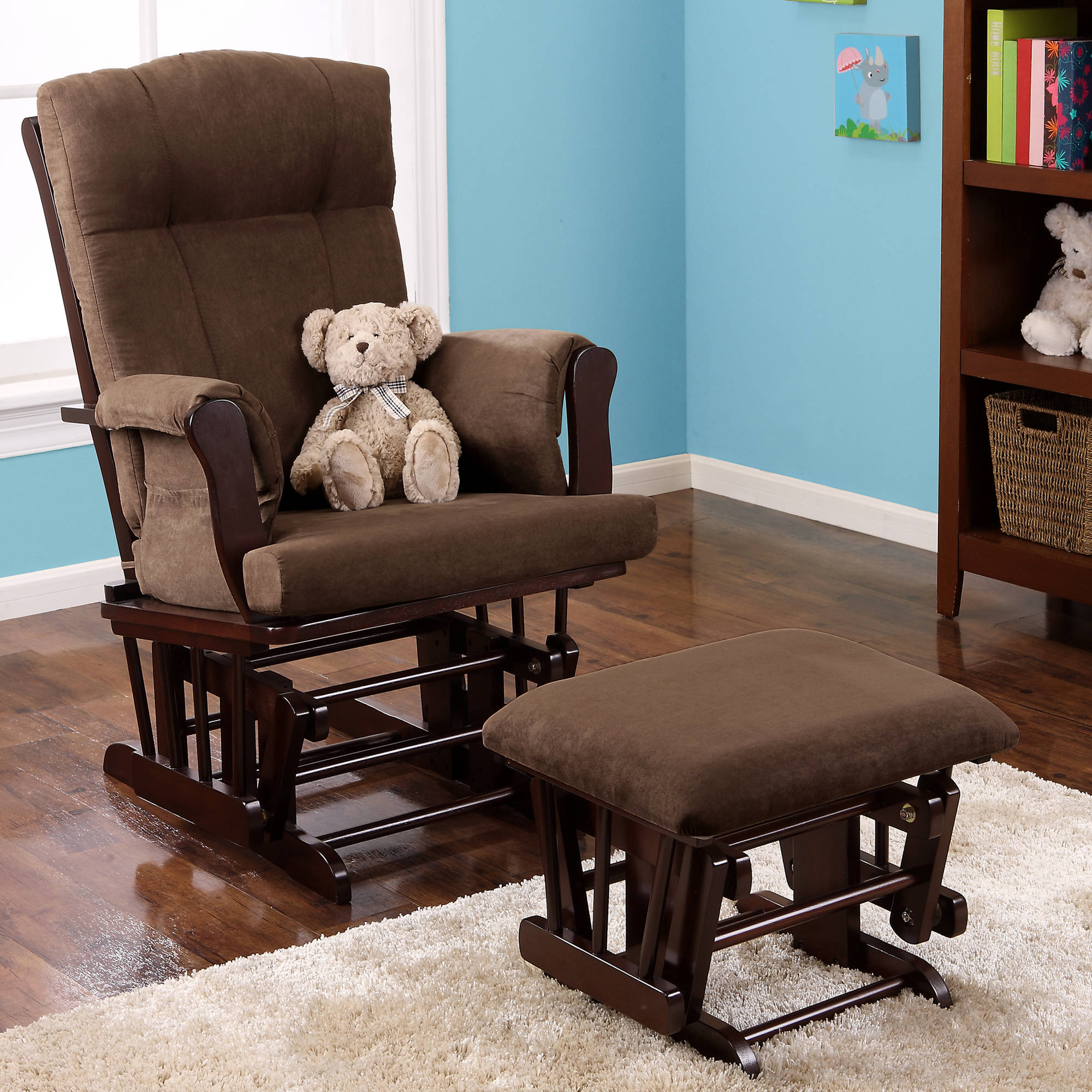 baby relax glider rocker and ottoman espresso with gray cushions walmartcom