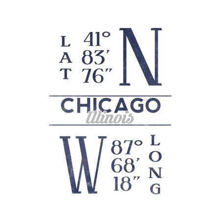 Chicago, Illinois - Latitude and Longitude (Blue) Print Wall Art By Lantern Press