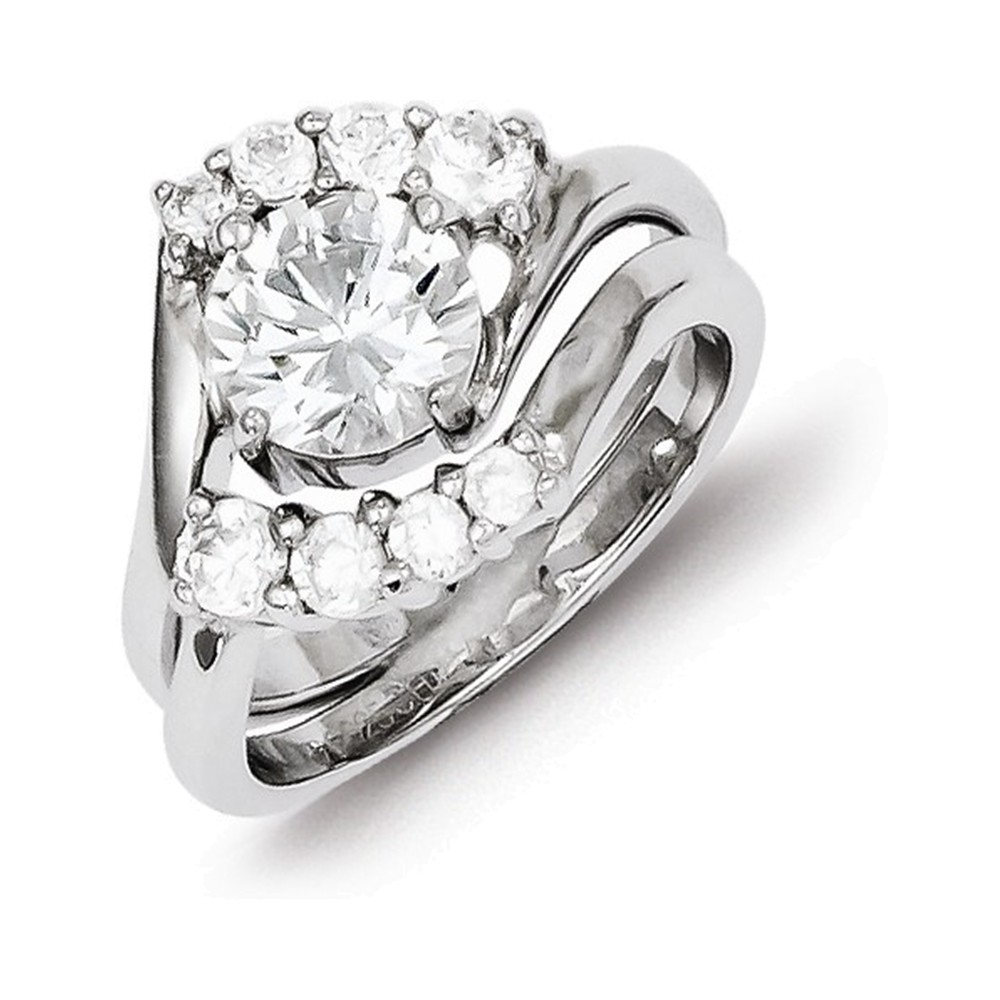 Sterling Silver 2-piece CZ Wedding Ring Size 8