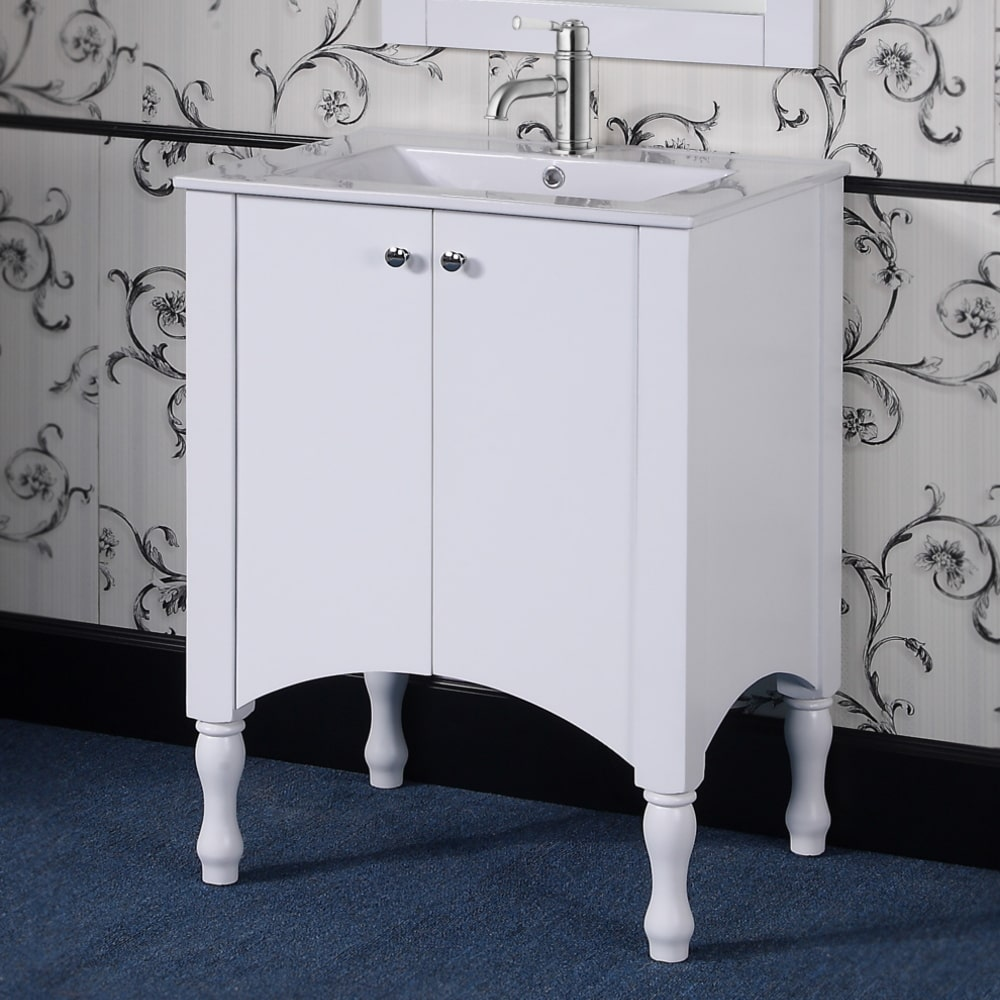 Infurniture Wood/ Ceramic 30-inch White Bathroom Vanity