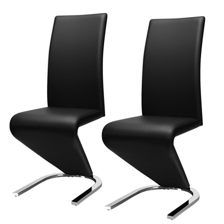Gymax 2 Pcs Dining Chair PU Leather High Back W/U-Shaped Foot Padded Cushion Black ()