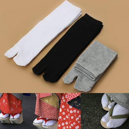 3 Pairs Unisex Black White Gray Japanese Kimono Flip Flop Tabi Ninja Geta Socks Split (Zemgear 360 Ninja Split Toe Running Series)