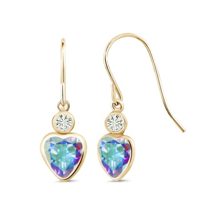14K Yellow Gold Earrings Mercury Mist Mystic Topaz Created Moissanite 0.20ct DEW
