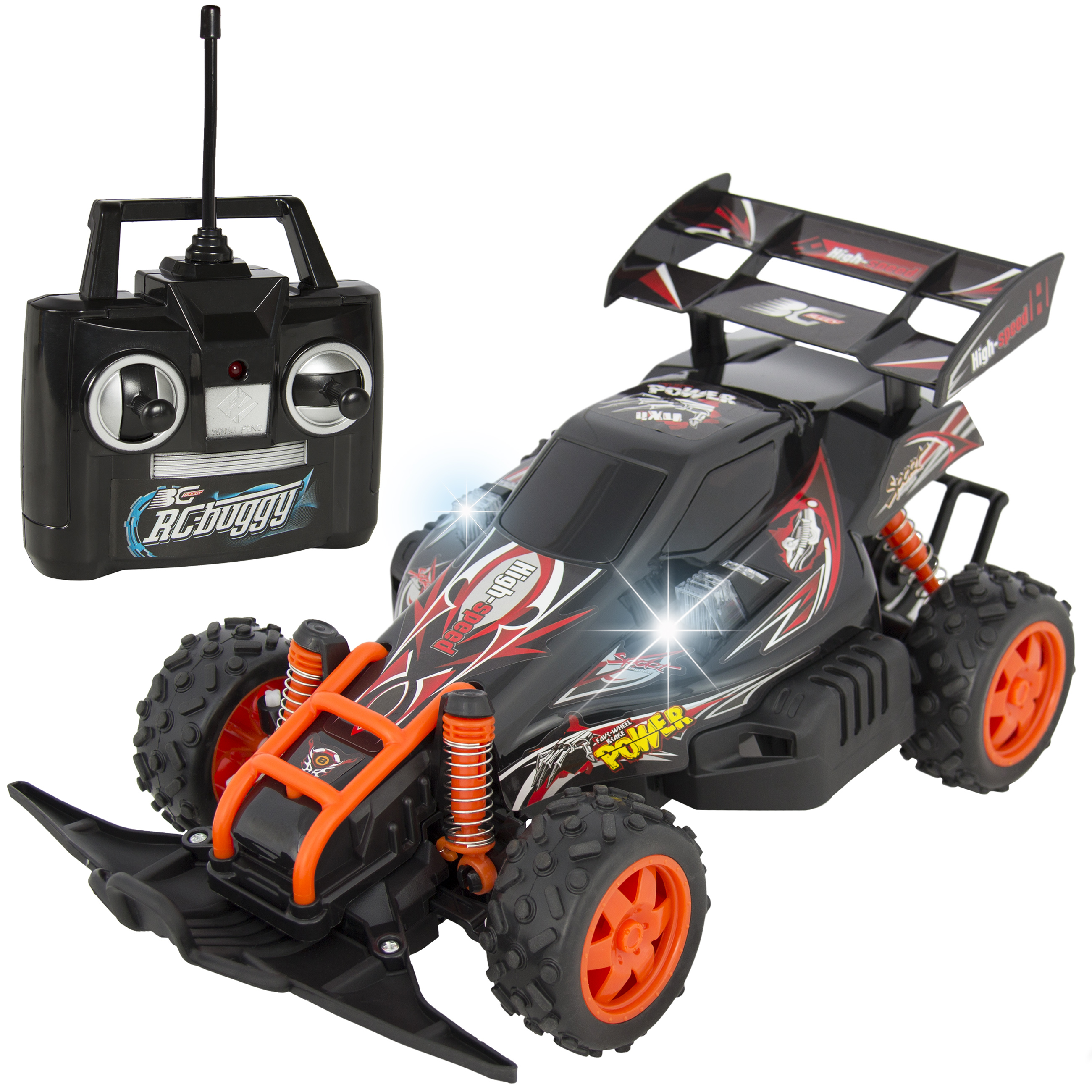 Best Choice Products High Speed RC Race Car Buggy w/ 4WD, Remote Control, Battery and Charger, LED Lights - Black/Red