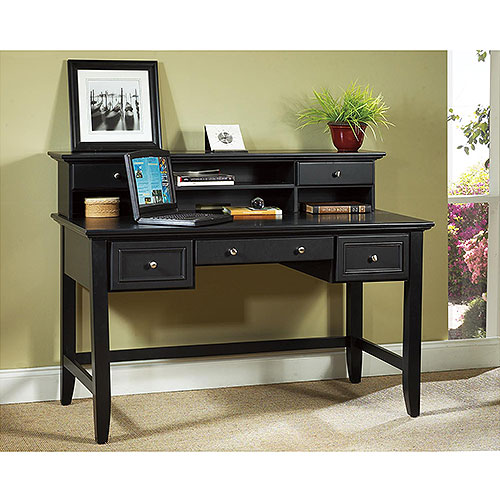 Home Styles Bedford Executive Desk and Hutch, Ebony