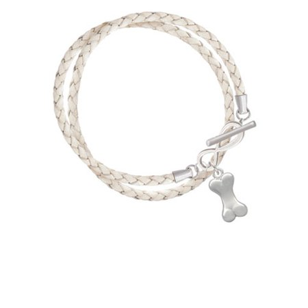Delight Jewelry 3 D Dog Bone Elegant Infinity White Leather Wrap Bracelet