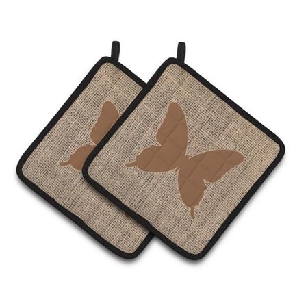 Carolines Treasures BB1046-BL-BN-PTHD Butterfly Faux Burlap & Brown Pair of Pot Holders, 7.5 x 3 x 7.5 in. - image 1 de 1