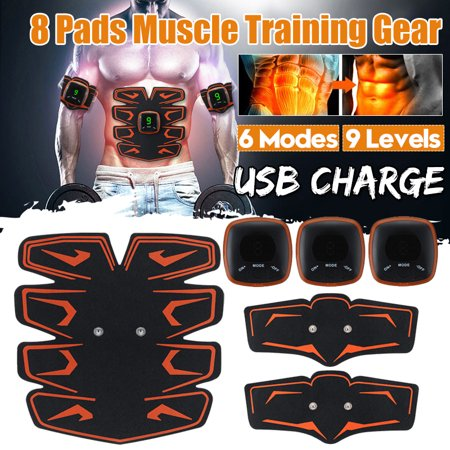 Electric 8 Pads Muscle Training Gear EMS Abdominal Stimulator Smart Trainer Fit Body Building Abdomen Arm Leg Home Office Exercise 6 modes 9 levels