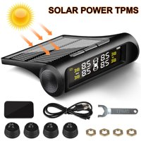 EEEkit Wireless Tire Pressure Monitoring System Solar & USB Power TPMS with 4 External Sensors Real-time LCD Display 4 Tires' Pressure & Temperature Monitoring 0-72.5 PSI 0-5 Bar 5 & 6 Alarm Modes