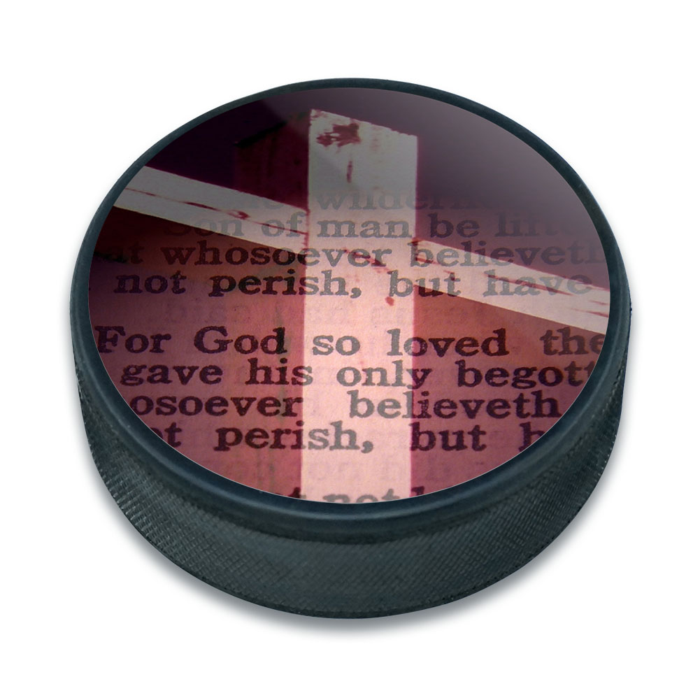 Bible Verse John 3-16 For God So Loved the World Ice Hockey Puck