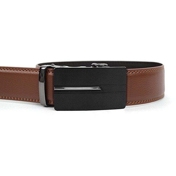 Men/'s Leather Ratchet Belt with Central Path Automatic Buckle