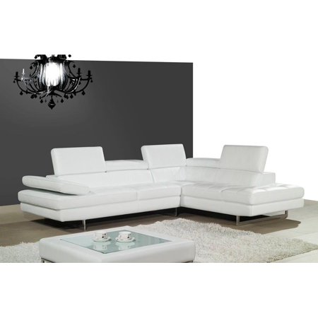 Outstanding Jm A761 Contemporary White Full Top Grain Italian Leather Sectional Sofa Right Squirreltailoven Fun Painted Chair Ideas Images Squirreltailovenorg