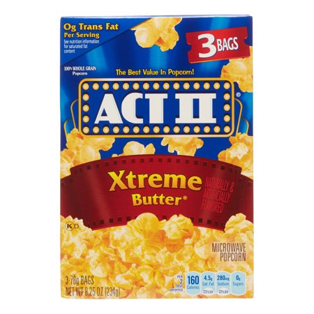 Act Ii Xtreme Butter Microwave Popcorn  Classic Bag  3 Ct