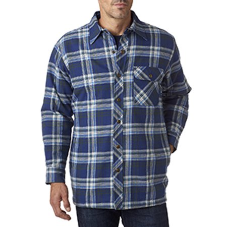 Quilt Flannel Shirt (Men's Flannel Shirt Jacket with Quilt Lining - BLUE/ GREEN - L BP7002)
