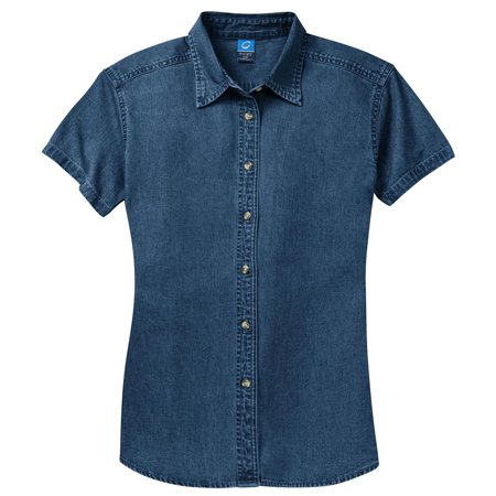 Womens Short Sleeve Denim Shirt (Port & Company Women's Short Sleeve Value Denim Shirt )