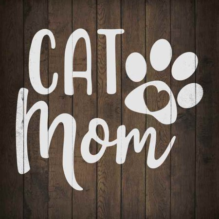 Cat Mom Inpiration Camping Rustic Looking Wood Sign Wall Décor Gift 12 x 12 Wood Sign B3-12120061020 ()