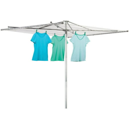 Honey Can Do Outdoor Umbrella Drying Rack with 210' of Drying Space, Chrome