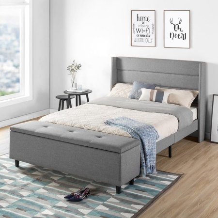 Crown Comfort  Modern Upholstered Full-Size Platform Bed with Headboard and Bedside Storage Ottoman