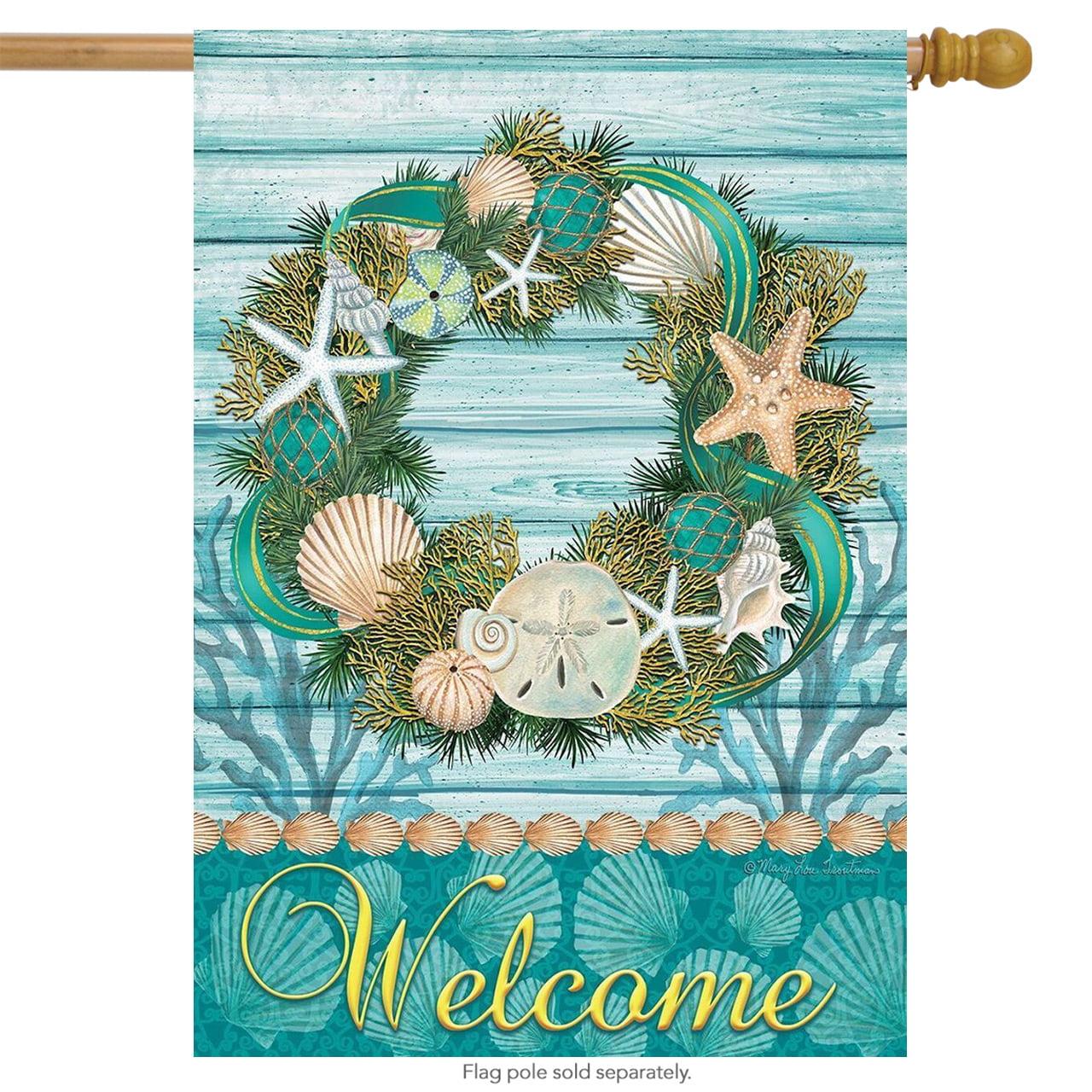 "coastal wreath summer house flag welcome nautical seashells 28"" x 40"""