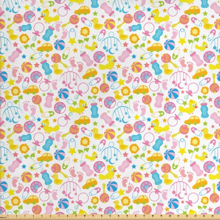 Baby Fabric by The Yard, Assortment of Infant Items Toys Footprints Milk Bottles Flower Arrangement Design, Decorative Fabric for Upholstery and Home Accents, by Ambesonne ()