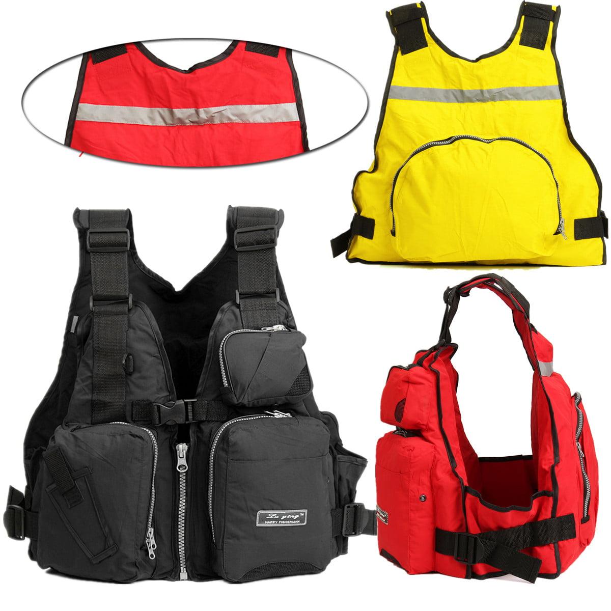 Unisex Adult EPE Outdoor Breathable Life Jacket Adjustable Marine Reflective Swimming Buoyancy Aid Sailing Kayak Canoeing Fly Fishing Life Jacket Vest with Multi Pocket