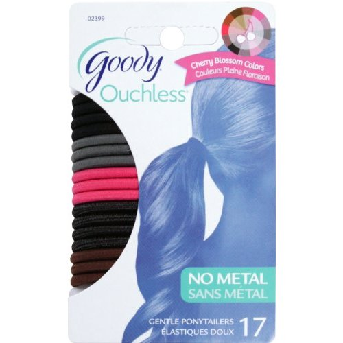 Goody Ouchless Hair Scrunchies, Cherry Blossom, 4 mm, 17 Count (Pack of 3)