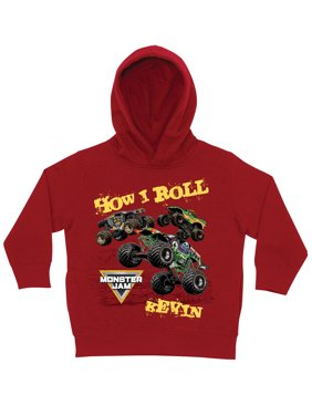 Personalized Monster Jam How I Roll Red Toddler Boys' Hoodie