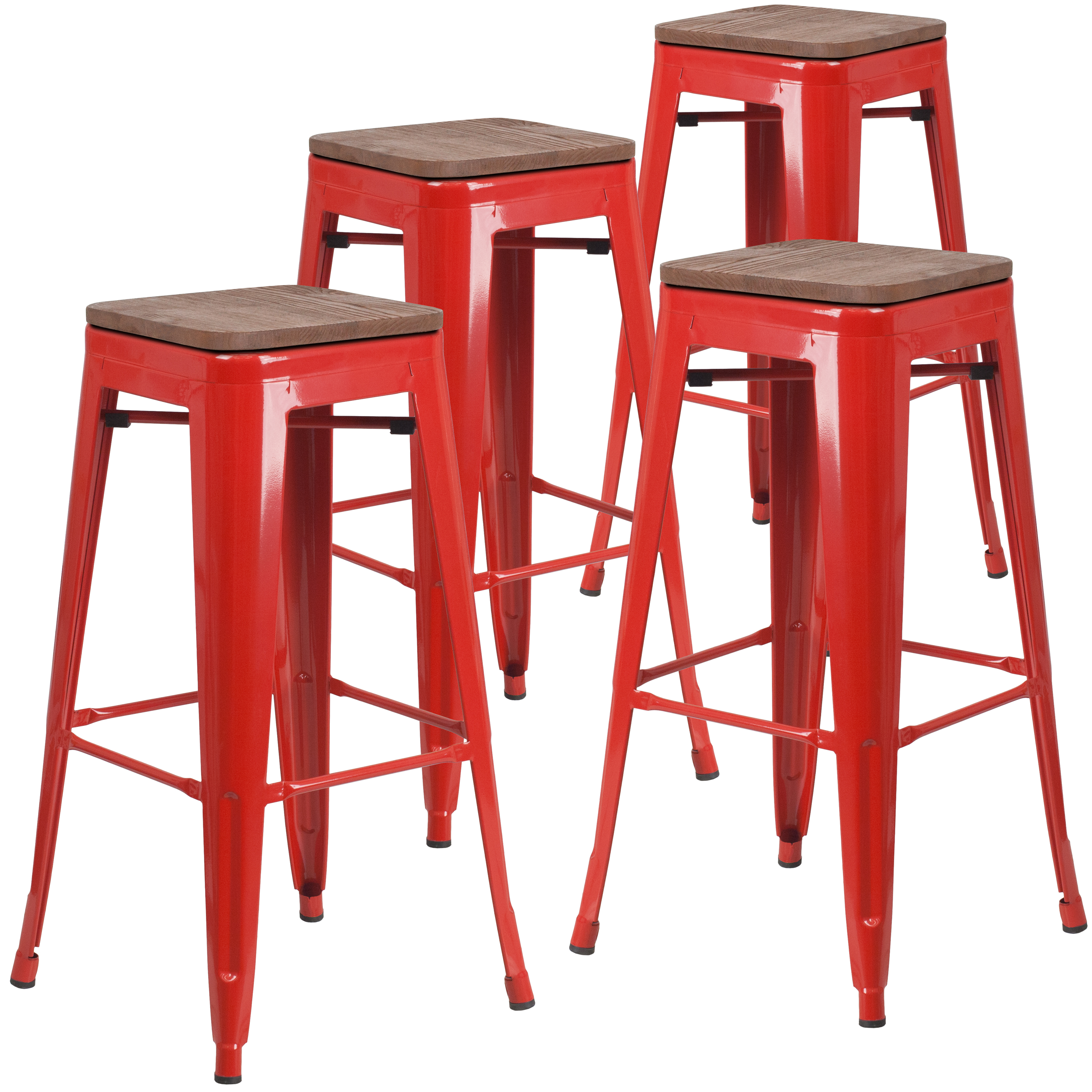 Flash furniture 4 pk 30 high backless orange metal barstool with square wood seat walmart com