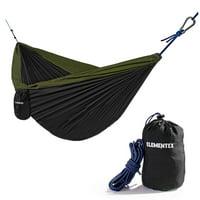 ELEMENTEX Portable Parachute Nylon Travel Camping Backpacking Hammock - Large Black & Green