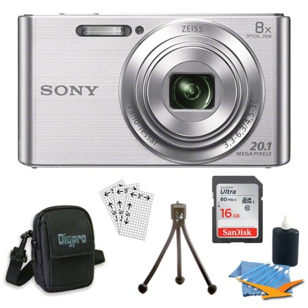 Sony DSCW830 DSCW830 W830 DSC-W830 DSC-W830 DSC-W830 20.1 Digital Camera with 2.7-Inch LCD (Silver) Bundle with 16GB Card, Deluxe Carrying Case, Mini Tripod, Lens Cleaning Kit + Much