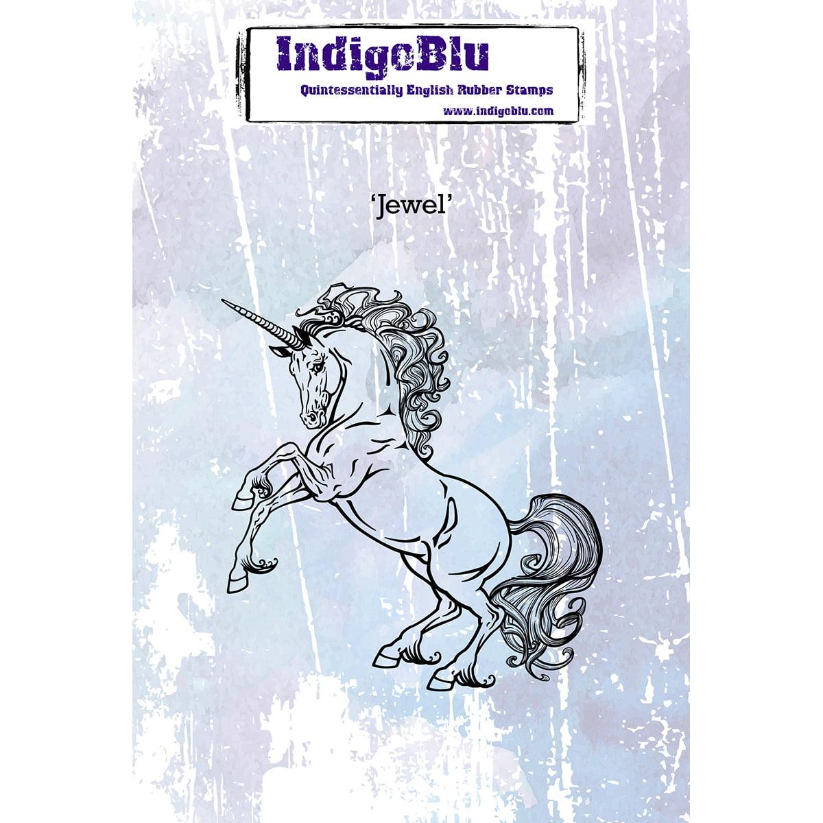"IndigoBlu Cling Mounted Stamp 5""X4""-Unicorn"