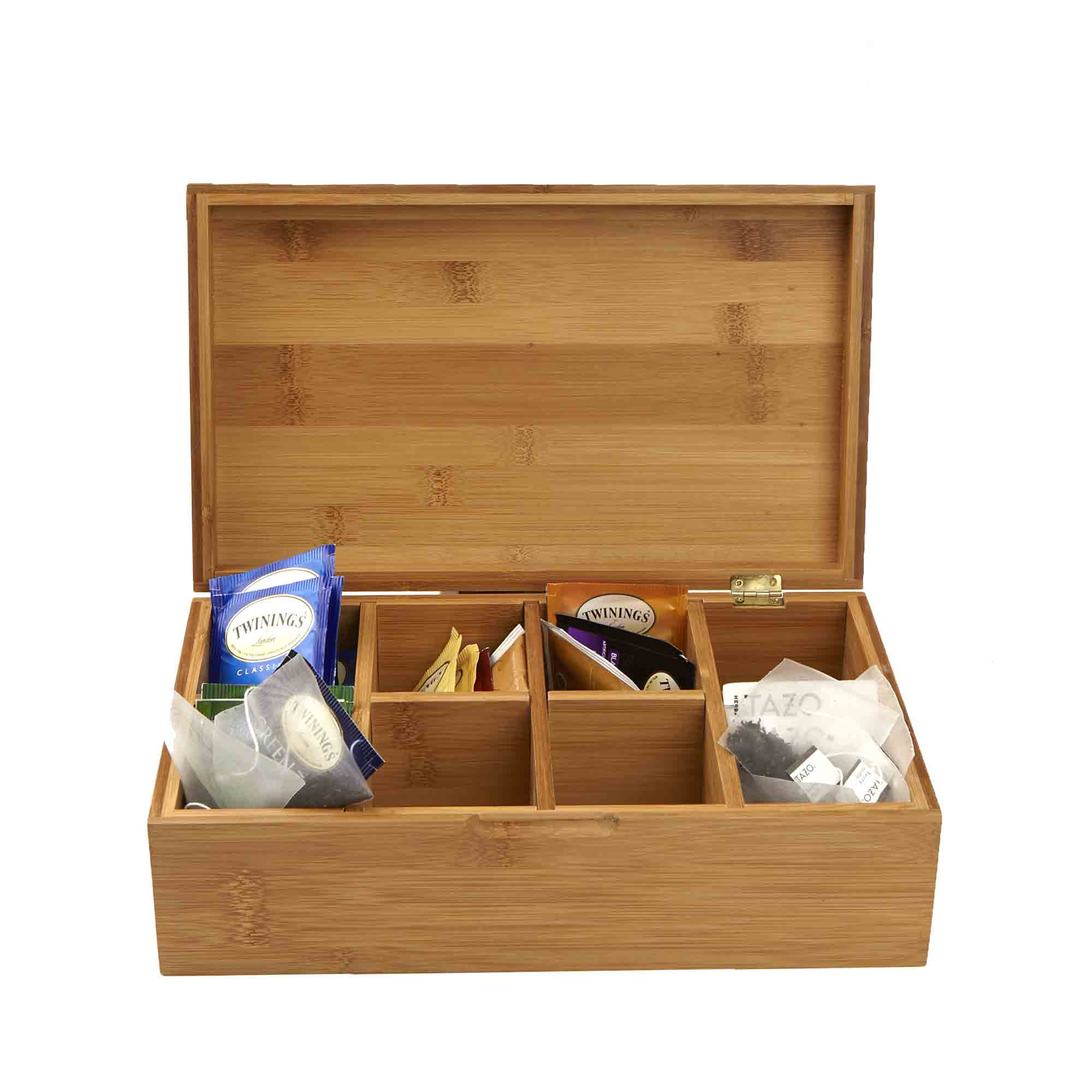 Mind Reader Bamboo Tea Storage Chest Box with 8 Compartments, Brown