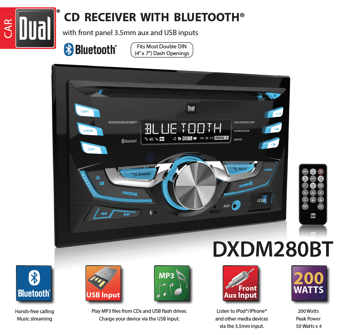 Dual Electronics Dxdm280bt Multimedia Lcd High Resolution Double Din Car Head Unit Wire Harness Same As Computer Stereo Receiver With Built In Bluetooth Cd Usb Mp3 Wma Player