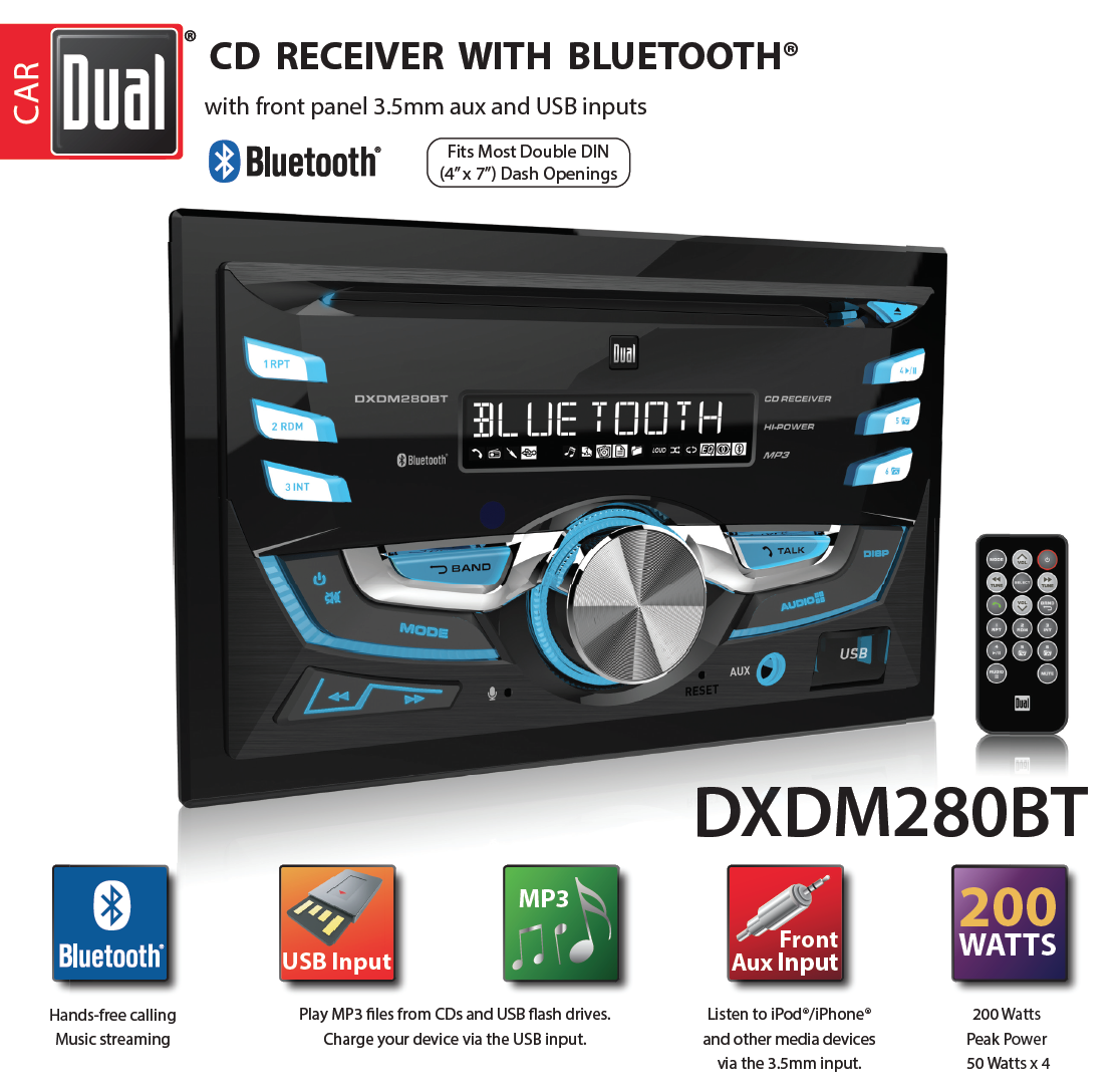• Dual Electronics DXDM280BT Multimedia LCD High Resolution Double DIN Car Stereo Receiver with Built-In Bluetooth, CD, USB, MP3 & WMA Player DXDM280BT