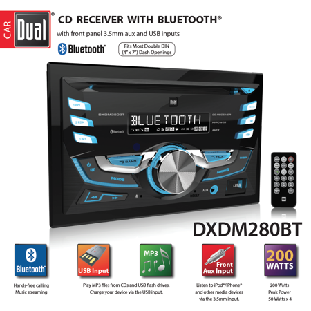 ⢠Dual Electronics DXDM280BT Multimedia LCD High Resolution Double DIN Car Stereo Receiver with Built-In Bluetooth, CD, USB, MP3 & WMA