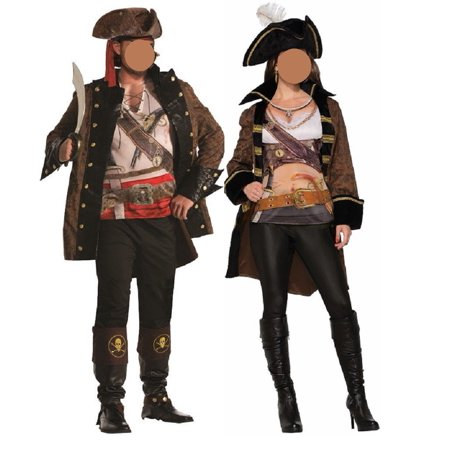 Couples Pirate Buccaneer Jacket With Shirt Costume Accessory Standard Halloween - Couples Halloween Costume