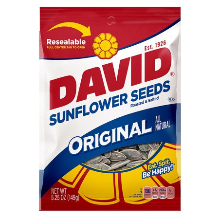 DAVID Roasted and Salted Original Sunflower Seeds, 5.25 oz (Chocolate Sunflower Seeds)