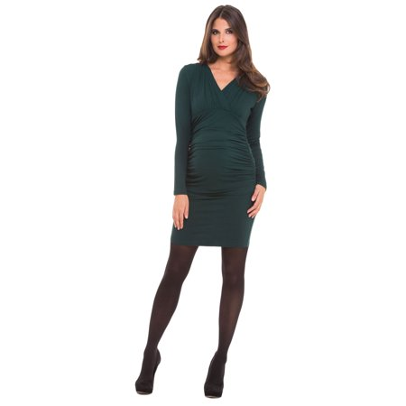 OLIAN Maternity Women's Hunter Green Lucy Ruched Surplice Neck Dress